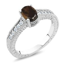 1.15 Ct Oval Brown Smoky Quartz White Created Sapphire 925 Sterling Silver Ring