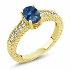 1.17 Ct Oval Royal Blue Mystic Topaz White Sapphire 18K Yellow Gold Ring