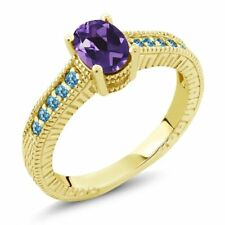 1.25 Ct Oval Purple Amethyst Swiss Blue Topaz 18K Yellow Gold Plated Silver Ring