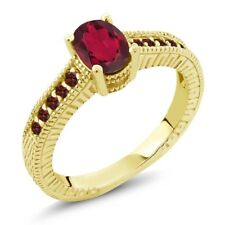 1.35 Ct Oval Ruby Red Mystic Topaz Red Garnet 18K Yellow Gold Plated Silver Ring