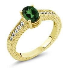 1.23 Ct Oval Emerald Envy Mystic Topaz White Diamond 14K Yellow Gold Ring