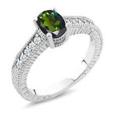 1.35 Ct Forest Green Mystic Topaz White Created Sapphire 18K White Gold Ring