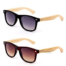 Wayfarer Style Sunglasses with REAL Bamboo Wood Temple Retro 80's Classic Frame