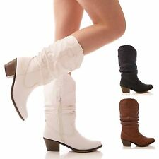 LADIES WOMENS COWBOY BOOTS WESTERN MID CALF SLOUCH FAUX LEATHER CASUAL SIZE