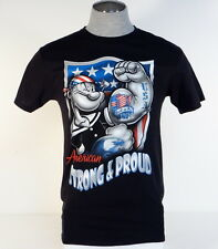 Popeye American Strong & Proud Black Short Sleeve Cotton Tee T Shirt Mens NEW