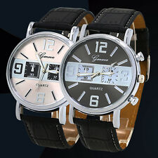 Women's Men's Geneva Watch Quartz Round Case Analog Dial Faux Leather Band Nice