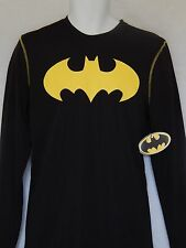 Batman Longsleeve Athletic Shirt Mens Sizes DC Comics Black Dark Knight New Logo