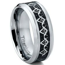 Titanium Men's Carbon Fiber and Masonic Freemason Ring Band 8mm