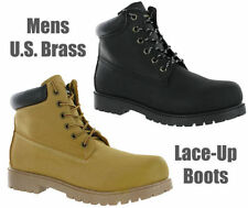 US Brass Black or Honey Causal Lace Up Ankle Walking Mens Boots UK7-12