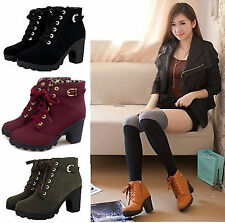Sexy Women Lady Chunky Block Heel Ankle Boots Platform Buckle Suede Boot Shoes