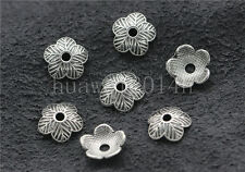 30/100/500pcs Tibetan Silver Flower Bead Caps Charms Beads Cap Jewelry DIY 9mm