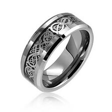 8mm Tungsten Carbide Ring Silver Celtic Dragon Inlay Comfort Fit Wedding Bands