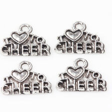 Wholesale 15/30Pcs Tibetan Silver I Love To Cheer Carved Charm Pendants 14*10mm