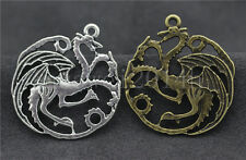 3/10/50pcs Tibetan Silver Exquisite two-sided dragon Charms Pendant 36x32mm