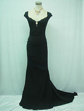 Cherlone Black Backless Long Formal Prom Ball Wedding Bridesmaid Evening Dress
