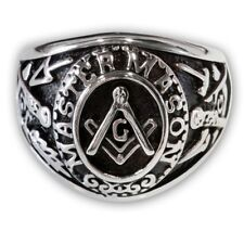 MEN'S MASTER MASON SIGNET RING stainless steel square compass masonic lodge band