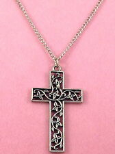 Pewter Filigree Cross Charm on a Silver Tone Link Chain Necklace - 0409