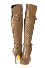 Khaki Taupe Super Hot Runway Moto Look Over the Knee Thigh High Stiletto Boots