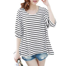 Woman Stripes Scoop Neck Half Length Sleeves Casual Tunic Top