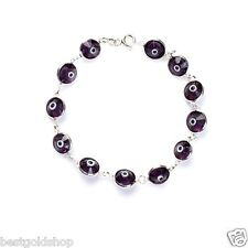 Clear Purple Greek Mati Evil Eye Bead Charm Bracelet Genuine 925 Sterling Silver