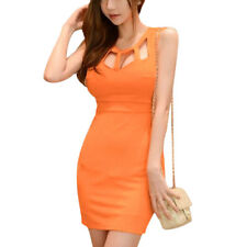 Woman Cut Out Front Sleeveless Bodycon Wiggle Dress