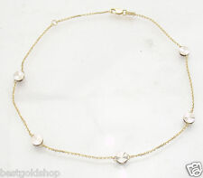 Diamond Cut Disc Ankle Bracelet Anklet Cable Chain Real 14K Yellow White Gold