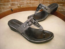 Marc Fisher Alining Pewter Silver Glitter Thong Sandal NEW