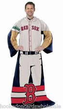 Boston Red Sox Comfy Throw Blanket w/ Sleeves Fleece Snuggy Player Design