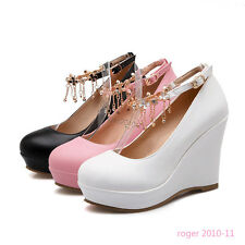 Womens Ladies Strappy High Heels Shoes Wedges Platform Party Pumps UK Size L809