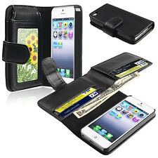 Black Leather Wallet Flip Pouch Case Cover Accessory For Apple iPhone 6 6plus Q2