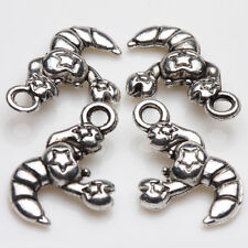 10/20Pcs Tibet Silver Star Symbol Craving Shrimp Charms Pendants Jewelry 16x11mm