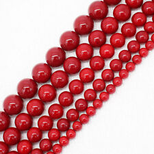 6-14mm Beautiful Red Shell Pearl Round Loose Beads 15""