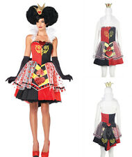 QUEEN OF HEARTS HALLOWEEN COSTUME ALICE IN WONDERLAND FAIRYTALE FANCY DRESS 8-14