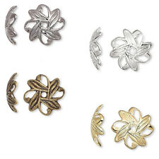 100 Leaf Shaped Spacer Accent Bead End Caps Plated Brass Metal for 10mm-12mm