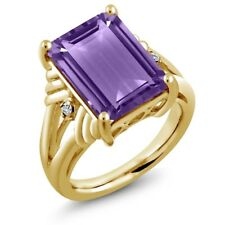 7.14 Ct Octagon Purple Amethyst White Topaz 18K Yellow Gold Plated Silver Ring