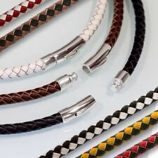Genuine Leather Necklace braided Design Stainless Steel Clasp choker bracelet