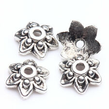 100/200Pcs Normal Flower Tibetan Silver Bead Caps Fit Handcrafts Makings 9x3mm