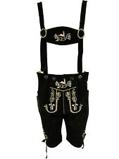 BLACK SUEDE LEATHER GERMAN SHORTS + SUSPENDERS BAVARIAN OKTOBERFEST LEDERHOSEN