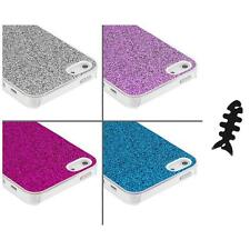 Glitter Bling Sparkly Ultra Thin Hard Case Cover+Cable Wrap for iPhone 5 5S