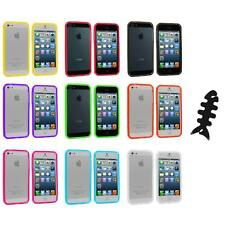 Transparent TPU Jelly Bumper Gel Case Skin Gel Cover+Cable Wrap for iPhone 5 5S