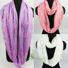 Fashion Women's Shine Floral Mesh 2-Layer Infinity Loop Cowl Eternity Scarf New