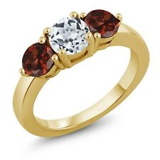 2.20 Ct Round White Topaz Red Garnet 18K Yellow Gold Plated Silver Ring