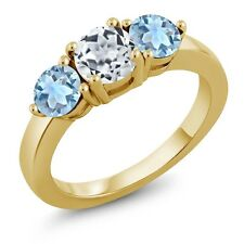 1.90 Ct Round White Topaz Sky Blue Aquamarine 18K Yellow Gold Plated Silver Ring