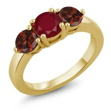 2.25 Ct Round Red Ruby Red Garnet 18K Yellow Gold Plated Silver Ring