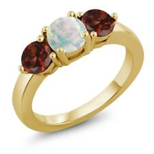 1.85 Ct Round White Simulated Opal Red Garnet 18K Yellow Gold Plated Silver Ring
