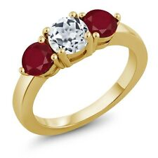 2.12 Ct Round White Topaz Red Ruby 18K Yellow Gold Plated Silver Ring