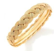 Technibond Rope Textured Bangle Bracelet 14K Yellow Gold Clad Sterling Silver