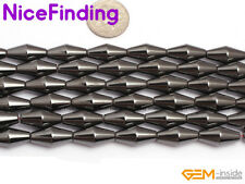 Natural Black Faceted Hematite Magnetic Beads For Jewelry Making Pyramid Beads