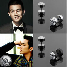 2Pc Black & Silver Men's Barbell Punk Stainless Steel Crystal Ear Studs Earrings