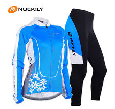 Womens Cycling Jersey Pants Set Bike Bicycle Long Sleeve Jersey+Coolmax Trousers